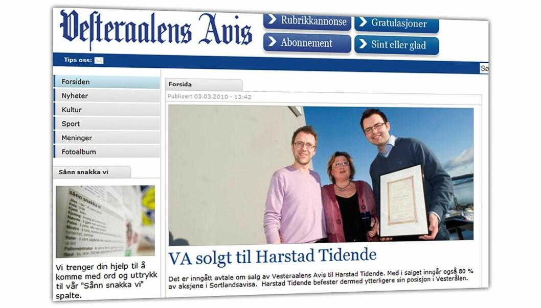 Vesteraalens Avis fra 3. mars 2010.
