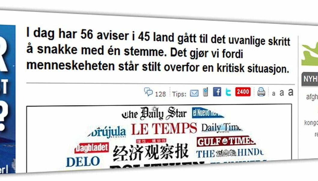 Faksimile Dagbladet nett 7. desember 2009.
