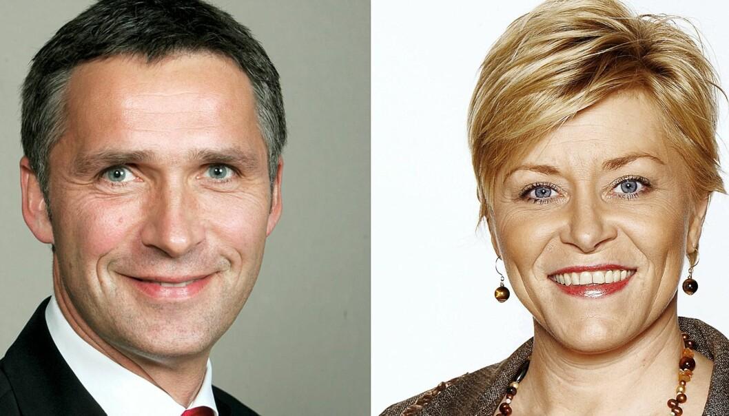 Jens Stoltenberg og Siv Jensen. Foto: Bjørn Sigurdsøn/SMK og Bård Gudim