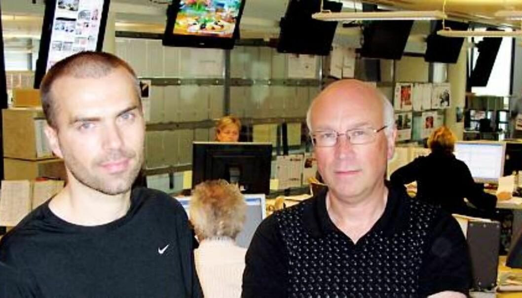 F.v. Sindre Halkjelsvik og Johan Behrentz, hhv. nestleder og leder i klubben i Sunnmørsposten. Foto: Martin Huseby Jensen