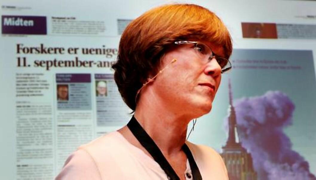 Journalist Kristin Aalen fortalte om den interne konflikten rundt artiklene hennes om konspirasjonsteorier. Foto: Kathrine Geard