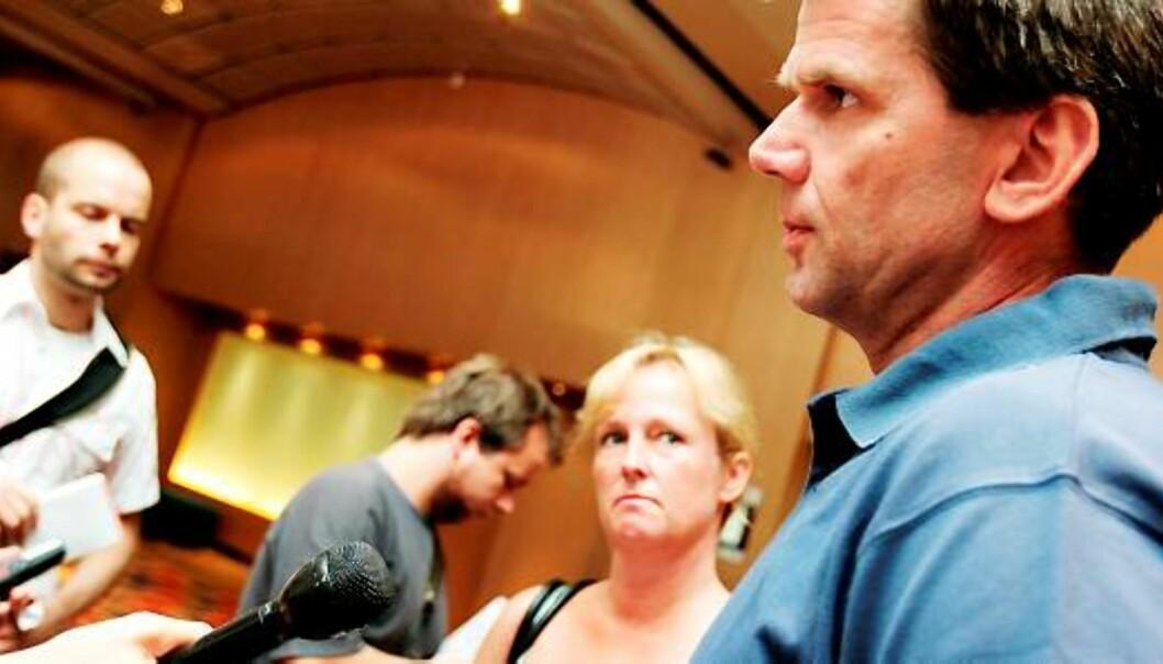 Konserntillitsvalgt Jan Erik Skau, her sammen med Carine Johansen, ansatterepresentant i Edda Media, ved en tidligere anledning. Foto: Birgit Dannenberg