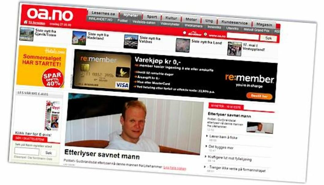 Skjermdump fra Oppland Arbeiderblads nettsider.