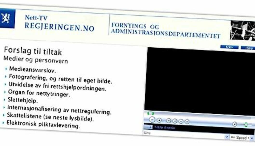 Skjermdump fra regjeringens nett-tv.