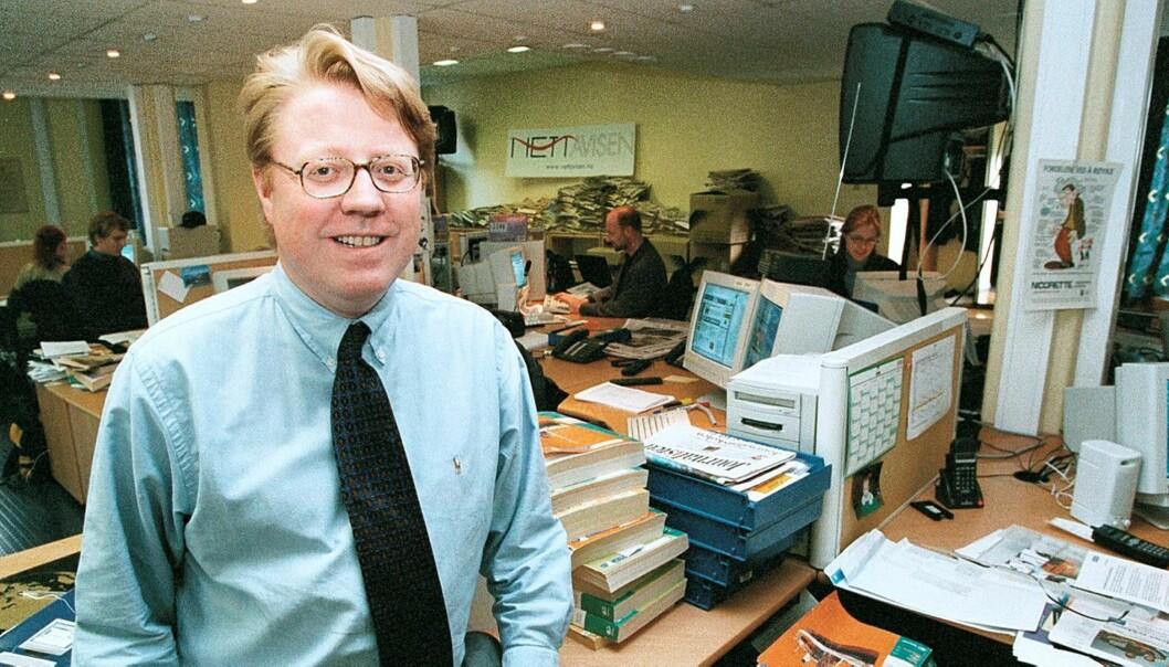 Daværende sjefredaktør i Nettavisen Knut Ivar Skeid forlikte med Dagbladet i gaten. Her fra 1998. Foto: Kathrine Geard