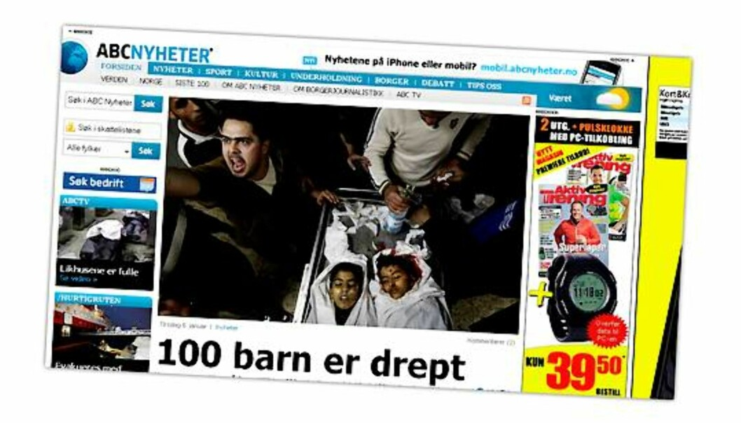 Skjermdump fra ABC Nyheter 6. januar 2009.