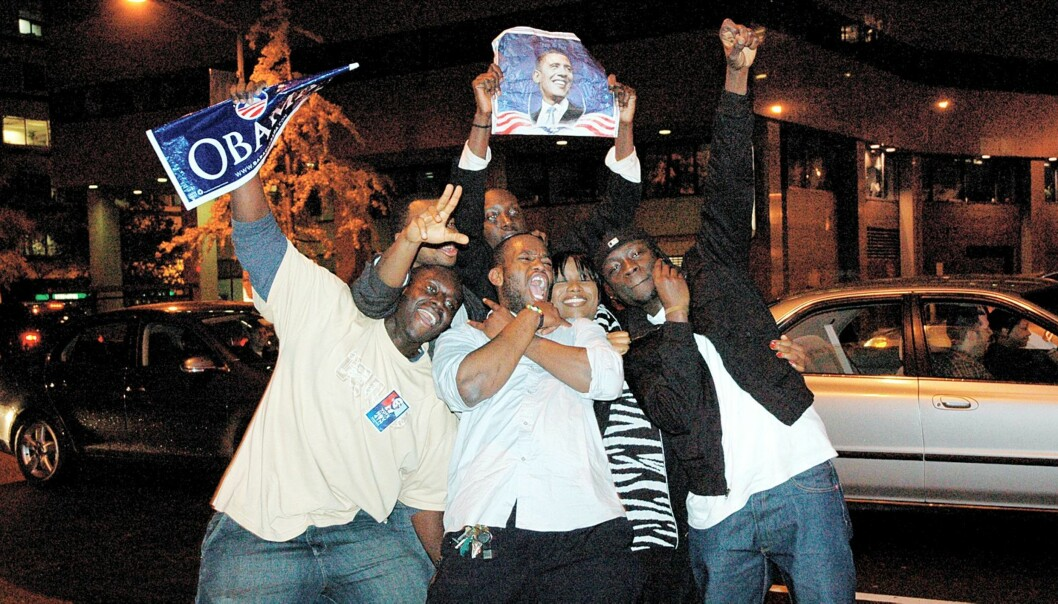 VALGNATTEN: Fra feiringen i Washington DC etter at Barack Obama vant valget. Foto: Kevin Anderson