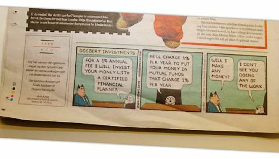 Faksimile av Dilbert i Finansavisen 7. januar 2009.