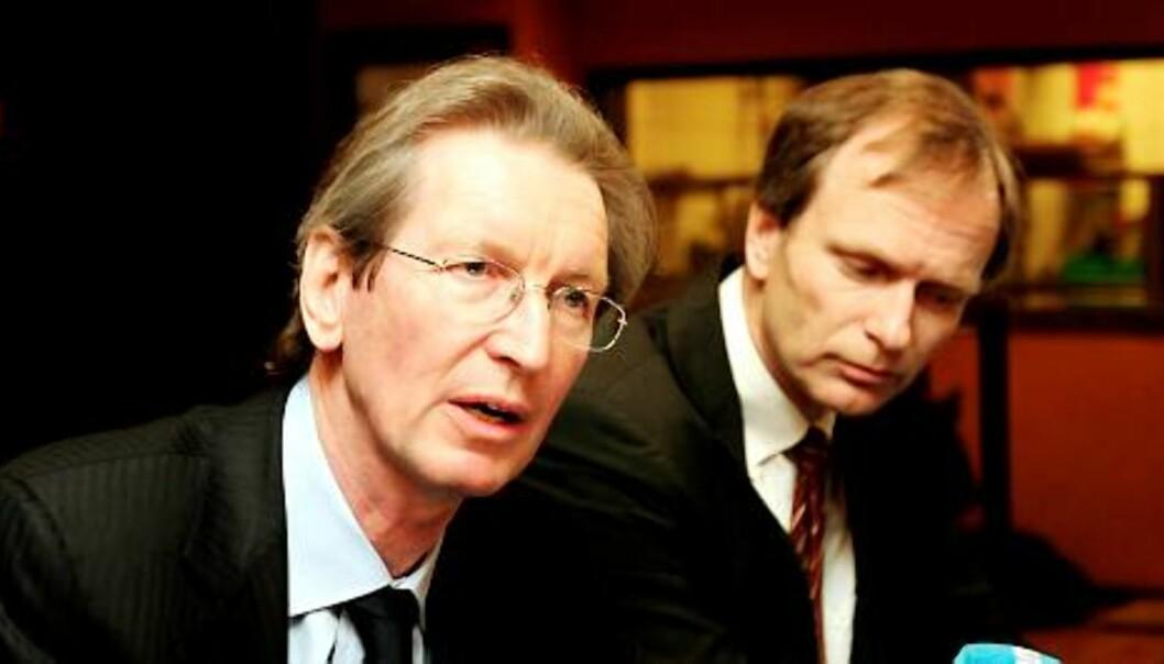 Mecom-sjef David Montgomery og styreleder i Edda, Truls Velgaard. Foto: Birgit Dannenberg