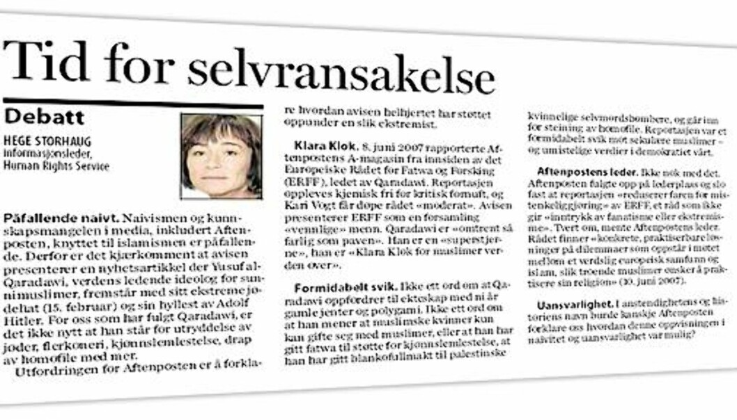 Faksimile Aftenposten 18. februar 2009.