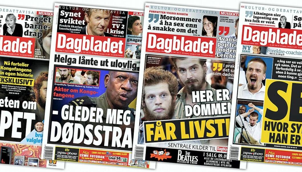 Dagbladet 25.08, 27.08, 08.09 og 22.10.