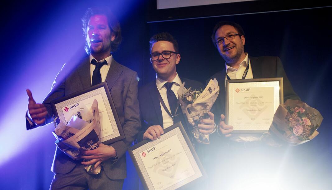 Eiliv Frich, Vegard Venli Flydal og Ola Strømman fra Dagbladet fikk Skup-diplom i fjor. Foto: Andrea Gjestvang