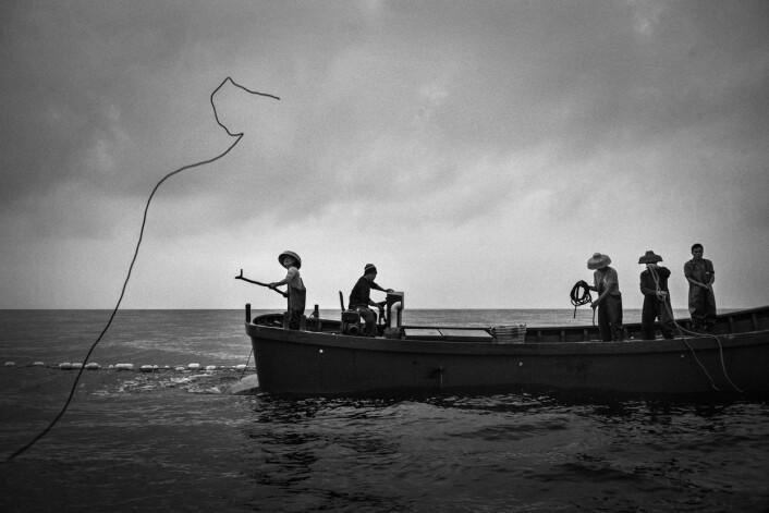 Tidlig på morgenen kastes det første tauet for å dra nattens fangst opp fra dypet. Det krever alle manns samlede kraft og en putrende firetaktsmotor. Foto: Christian Breidlid