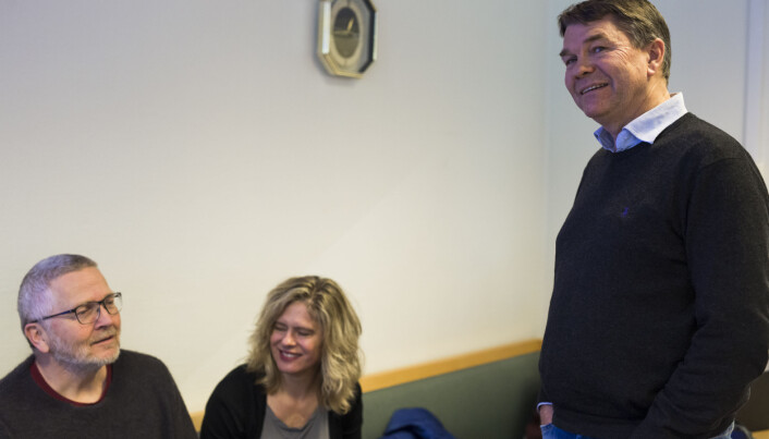 Redaksjonsleder i NRK, Olav Njaastad, og fungerende Brennpunkt-redaktør Cecilie Ellingsen, var i retten for å følge utspørringen av NRK-journalist Bjørn Olav Nordahl. Foto: Kristine Lindebø