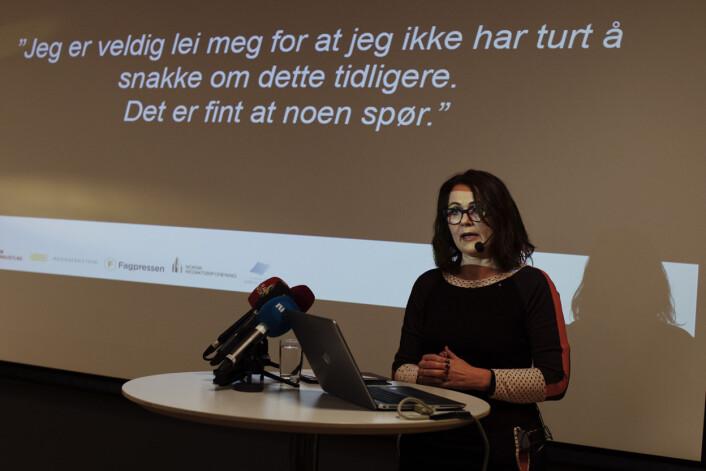 Reidun Kjelling Nybø innledet pressekonferansen i dag i Amedia sine lokaler i Akersgata. Foto: Andrea Gjestvang