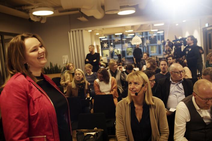 NJ-leder Hege Iren Frantzen (foran), takket alle som har svart på undersøkelsen om seksuell trakassering.Foto: Andrea Gjestvang