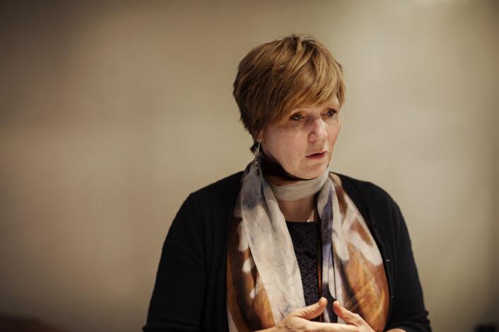 Christine B. Meyer, tidligere sjef for SSB, møter i Norsk Presseforbund for å fortelle om mediestormen hun har stått i. Foto: Andrea Gjestvang