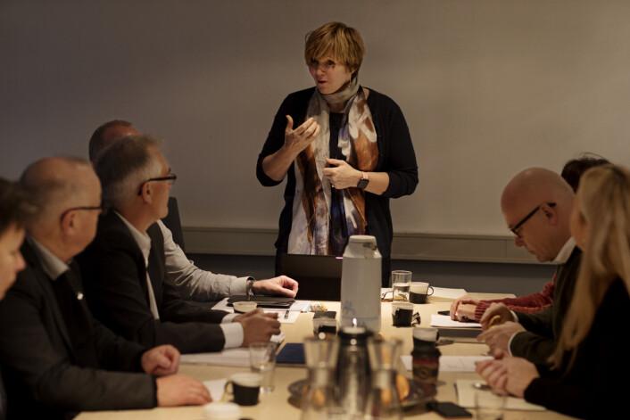 Christine B. Meyer, tidligere sjef for SSB, forteller om mediestormen i Norsk Presseforbund. Foto: Andrea Gjestvang