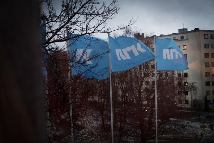 For første gang holdes Landsstyret på NRK på Marienlyst. Utenfor vinduet svaier NRK-flaggene i vinden. Foto: Andrea Gjestvang