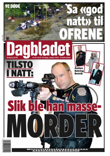 Dagbladets forside 24.juli 2011.