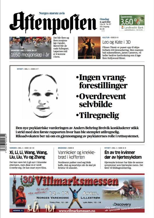 Aftenpostens forside 14.april 2012 - under rettssaken.