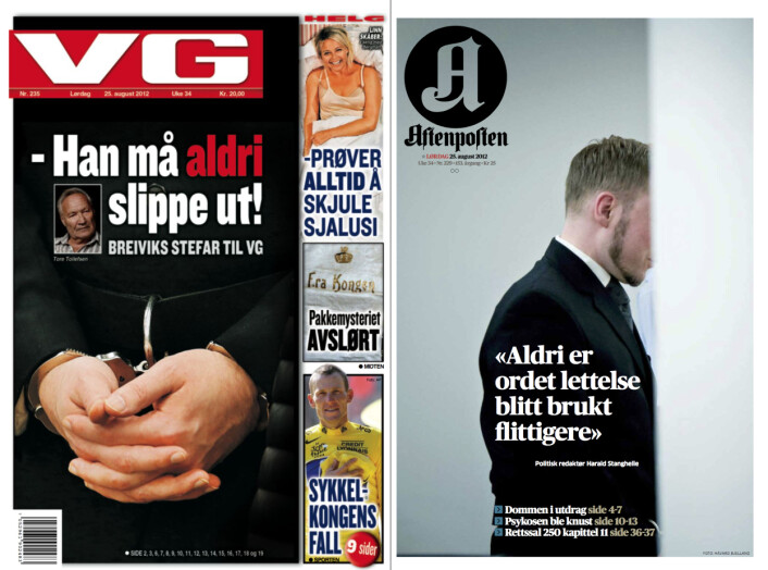 VG og Aftenpostens forsider 25.august 2012 - etter at dommen var falt.