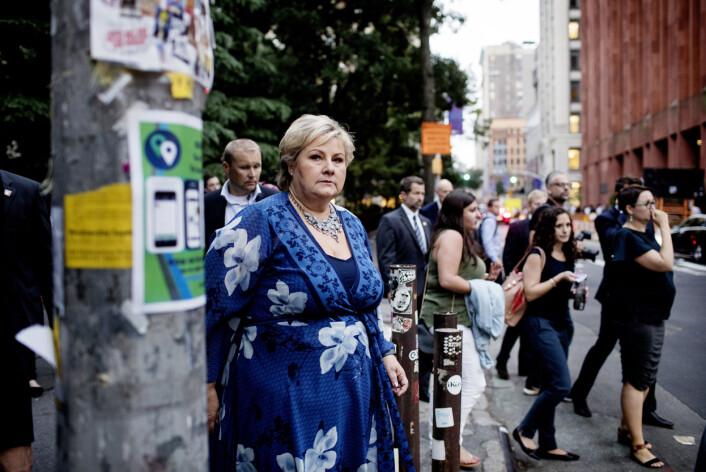 Ida von Hanno Bast følger statsministeren under hennes tredagers-opphold i New York. Foto:Ida von Hanno Bast, Dagens Næringsliv