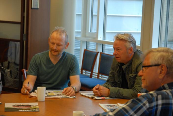 Fra venstre. Grunde Grimstad, IT-journalist, Sigurd Sveen, finansavdelingen og Bjørn Segrov