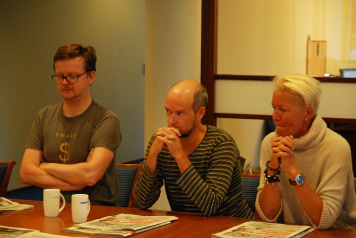 Jone Frafjord, redaksjonssjef Christer Teigen og Hilde Oreld på feature