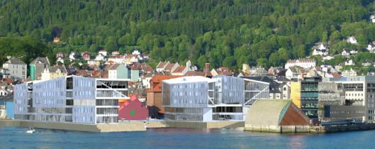 Slik ble en tidlig skisse av helt ny bygningsmasse på Nøstet presentert.