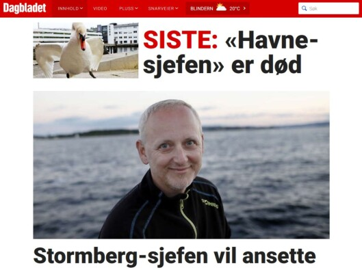 Faksimile Dagbladet.