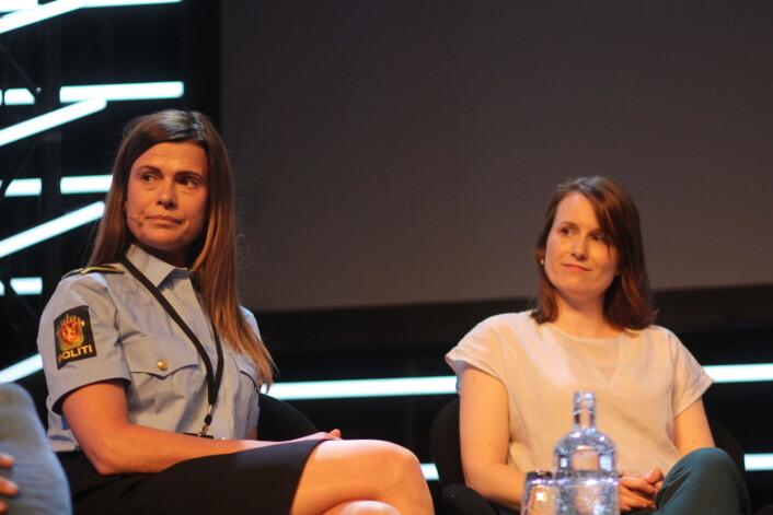 Vibeke Syversen i Kripos og nevropsykolog Ylva Østby under debatten. Foto: Angelica Hagen