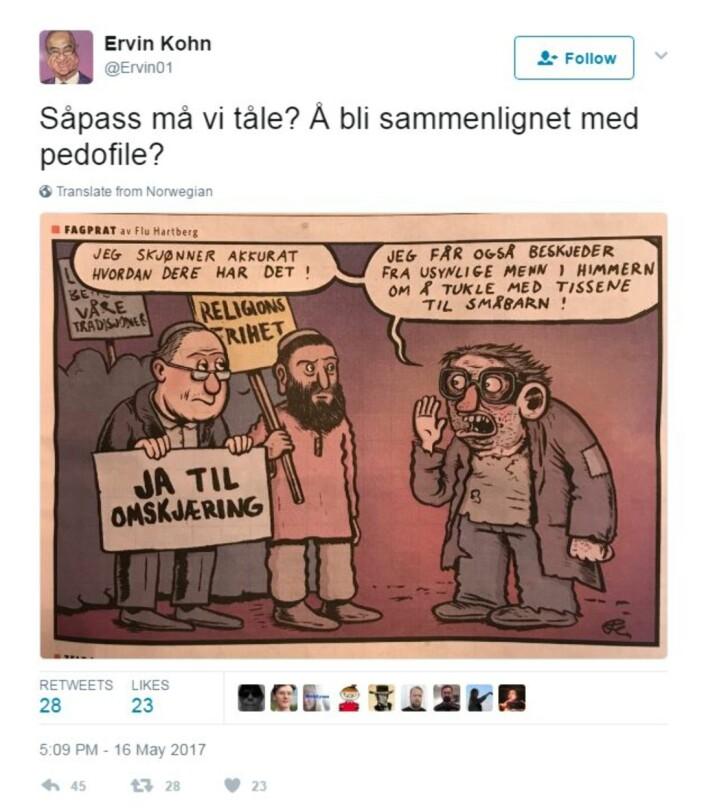 Ervin Kohn erleder av Det Mosaiske Trossamfund og delte tegningen på Twitter.