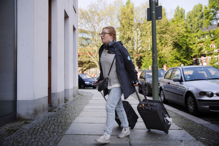 Guri Norstrøm rekker en kjapp tur hjemom før hun skal ut på nytt oppdrag på Kanzleramt. Foto: Andrea Gjestvang