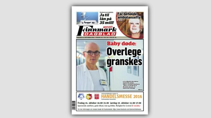 Forsiden til Finnmark Dagblad angående overlege Arnt R. Johannessen.