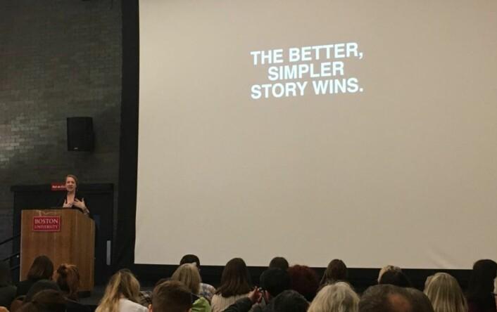 Redaktør i Upworthy, Amy O' Leary fra hennes foredrag på the Power of Narrative i Boston i mars. Hun skal holde to sesjoner i Bergen.
