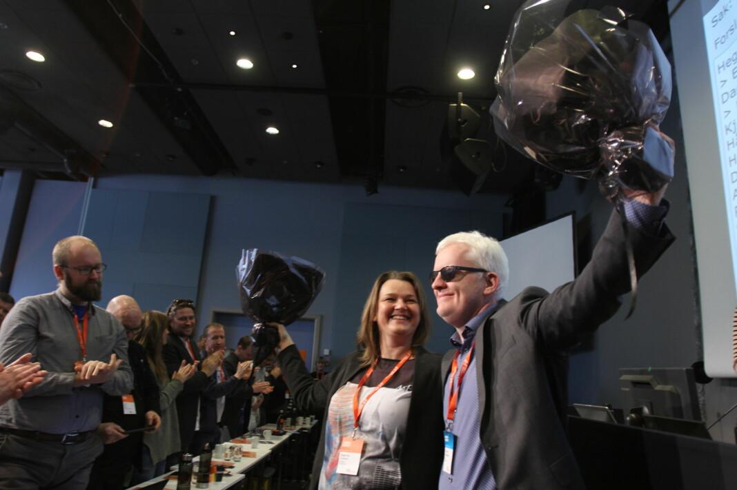 Under landsmøtet i 2017 ble Hege Iren Frantzen valgt til leder og Dag Idar Tryggestad nestleder av Norsk Journalistlag. Arkivfoto: Martin Huseby Jensen