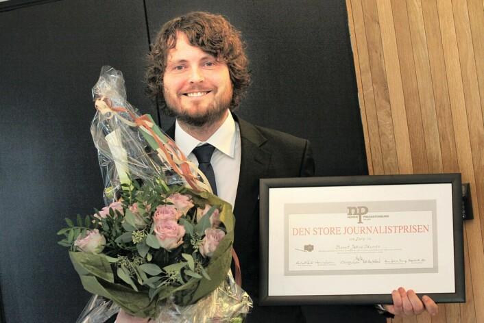 Bernt Jakob Oksnes, da han vant den store journalistprisen.