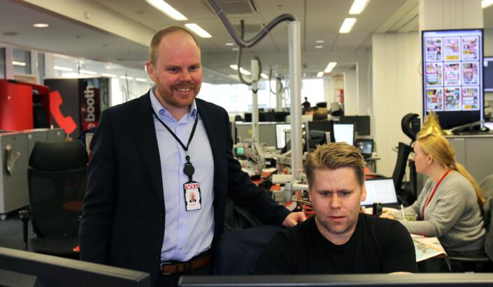 Gard Steiro og Geir Arne Kippernes på VG-desken. Foto: Glenn Slydal Johansen