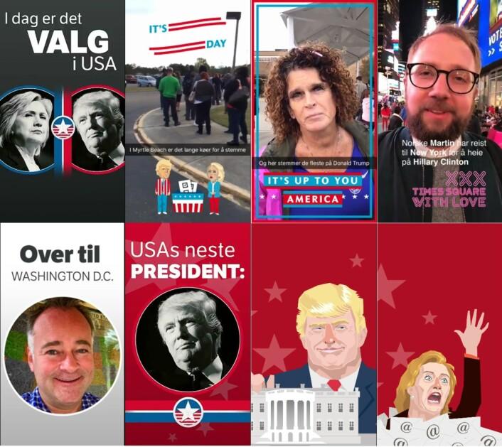 """Skjermdumper fra Snap-kontoen """"nrknyheter"""" på valgdagen. Disse er skjermdumpet fra forskjellige videosnutter."""