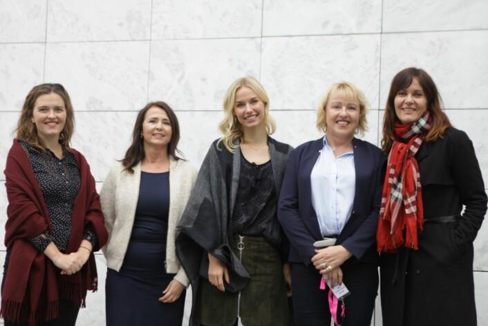 Disse var nominerte til priser. Tora Bakke Håndlykken, Cathrine Laksfoss,Karine Thyness, Grethe Gynnild-Johnsen og Kristin Monstad.Janne Sundelius Braathen var ikke til stede.Foto:Henrikke Havaas