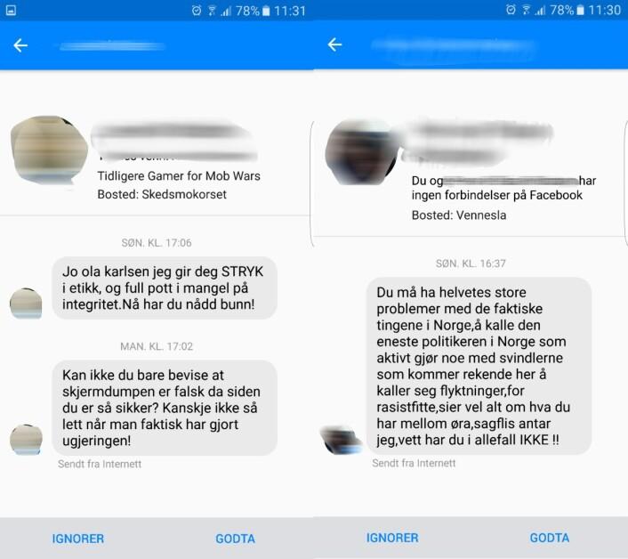Noen av meldingene Ola Karlsen har fått på Facebook de siste dagene. Foto: Skjermdump