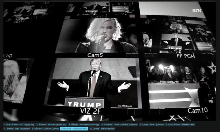 Donald Trump-bilder under fremførelsen av American Idiot på Stjernekamp.<br>Skjermdump NRK.