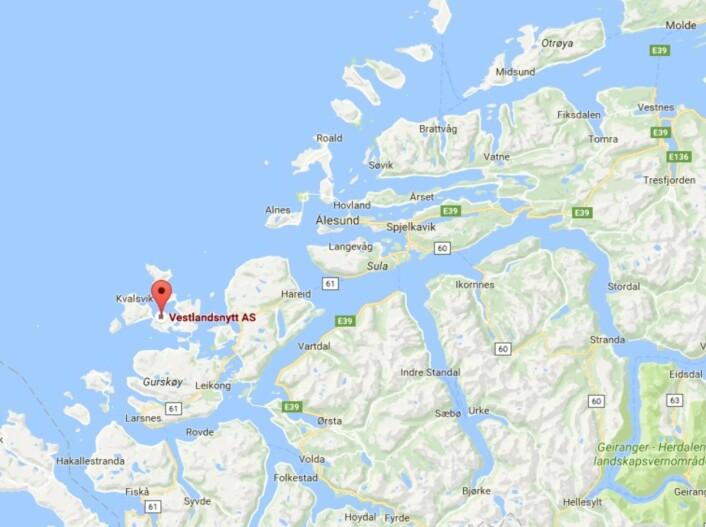 Vestlandsnytt gis ut i Herøy kommune. Skjermdump: Google Maps