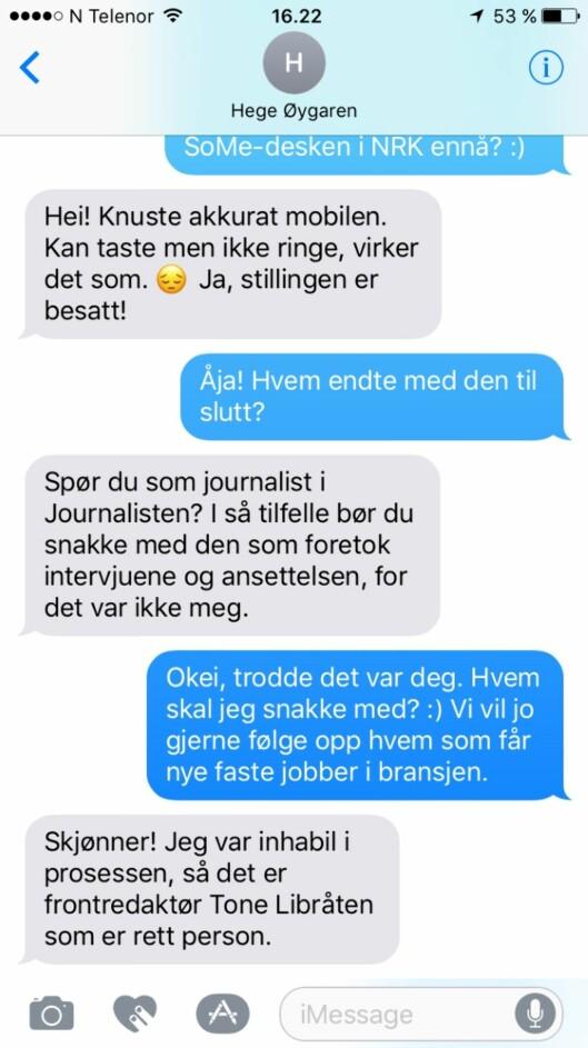 SMS-utvekslingen med Hege Øygaren,<br>der hun forteller Journalisten at hun var<br>inhabil i ansettelsesprosessen.