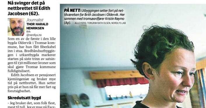 I Nordlys' papirutgave står det navnet på fotografen, samt Nordlys Lab.