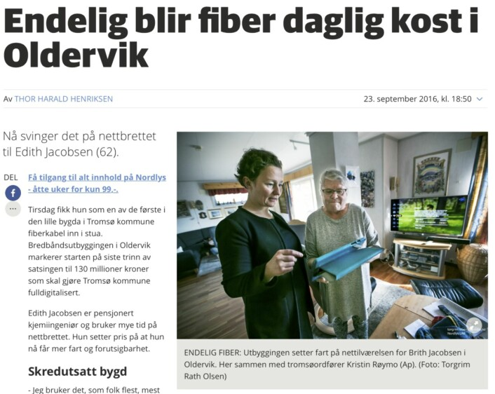 På nett oppgir Nordlys kun fotografens navn. Etter at Journalisten publiserte sak<br>på dette mandag, har Nordlys lagt på Nordlys Lab bak navnet.