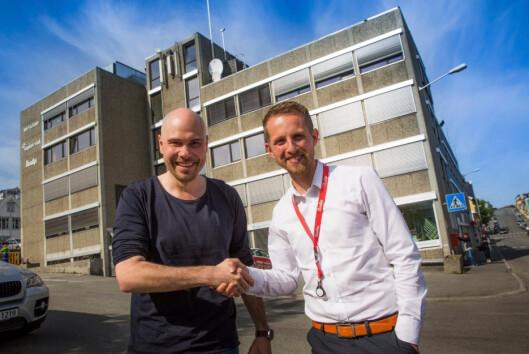 Helge Nitteberg (til høyre). Her med tidligere<br>sjefredaktør Anders Opdahl.