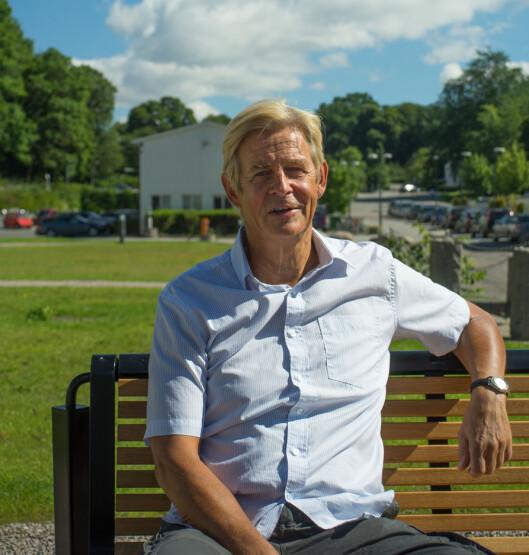 Magnus beklager at mange dyktige folk<br>nå forlater TV 2 og vil ikke at NRK skal<br>dominere. Men er selvsagt imot å dra<br>ned NRKs inntekter. Foto: Helge Øgrim