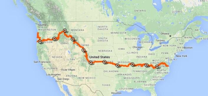 Gunnar Kagge har nå syklet i to uker fra starten på selve sykkelturen, ved Det hvite hus i Washington. Turen til vestkysten og endestasjonen Seattle tar tre måneder.